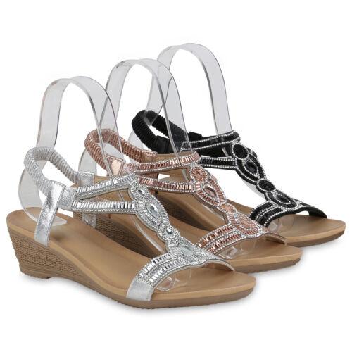 Damen Sandaletten Keilsandaletten Strass Cut-Outs Riemchen 834589 Schuhe