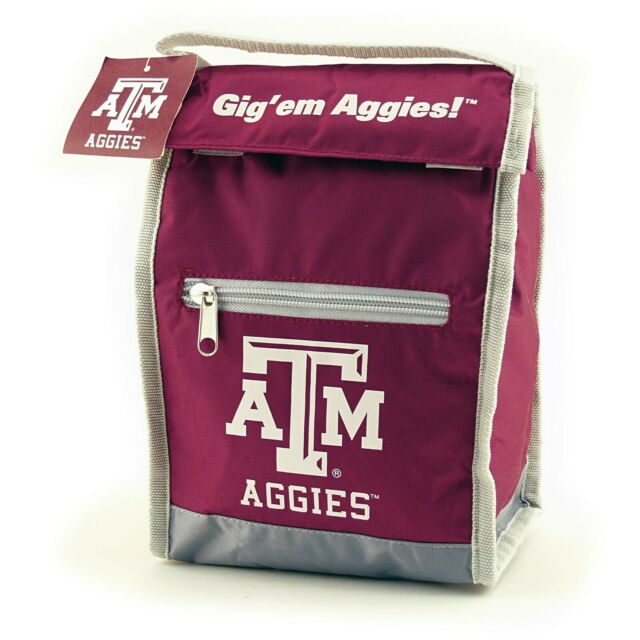 Black NCAA Texas A/&M Aggies Insulated Lunch Cooler Bag with Zipper Closure