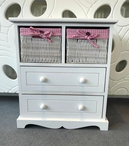 Chest of Drawers Kids Furniture Pink Wicker Baskets Drawers Childrens Storage