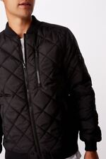Cotton On Mens Quilted Bomber Jacket Jackets  In  Black