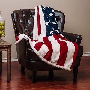 Chanasya Super Soft Cozy Plush Warm Sherpa Throw Blanket - US Flag Print White
