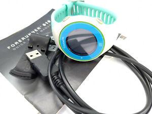 Garmin Forerunner 610 GPS Running Watch - New strap - Blue / Green