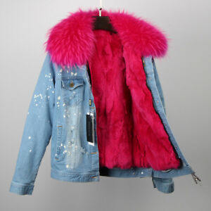 Real Deconstructable whtpink Rabbit Jacket Fur Womens Lined Denim Luxurious q5147O