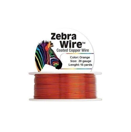 Zebra Coated Copper Wire Orange 20 Gauge 15 Yards