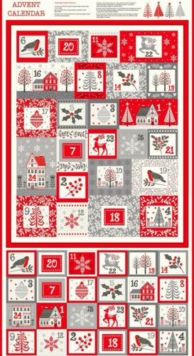 NEW Christmas Advent Calendar SCANDI Makower cotton fabric 110 cm x 60cm to make