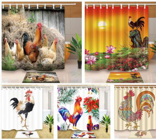 Farm Chicken Cock Waterproof Fabric Shower Curtain Set Bath Mat Hooks Include