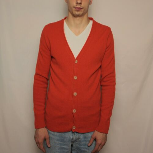 Inis Meain Wool  Cardigan Orange Mens Size S Made