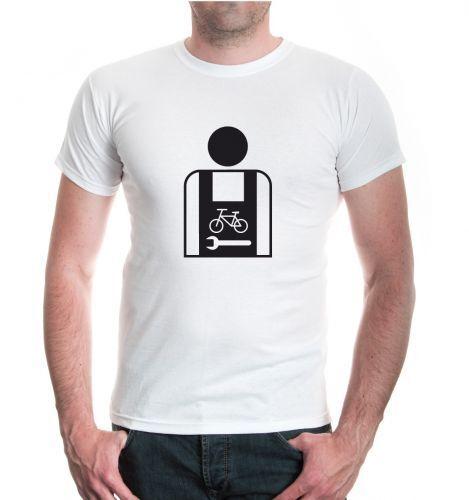 Hommes unisexe manches courtes T-shirt deux roues mécanicien-pictogramme Vélo artisans