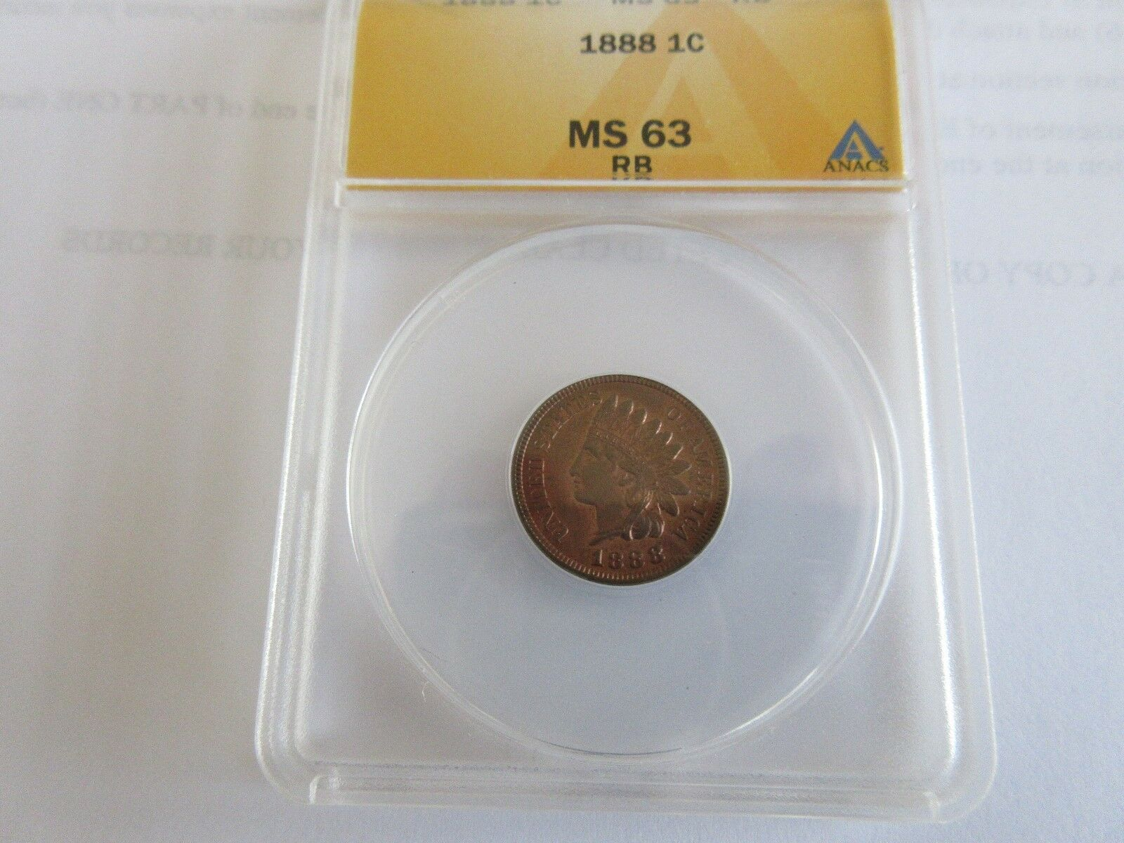 1888 , Indian Head Cent , MS 63 , RB , Anacs Certified