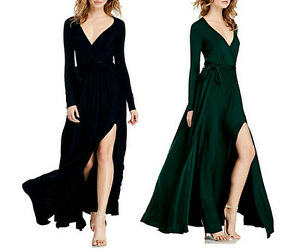 Vestito-Lungo-Donna-con-Spacco-Verde-o-Nero-Woman-Maxi-Dress-110151B