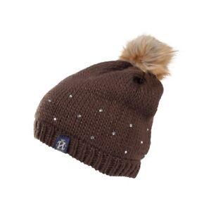 Action-Chaud-Crystal-Bonnet-Tricote-avec-Pompon-pour-S-Oreilles-Blanc-ou-Braun