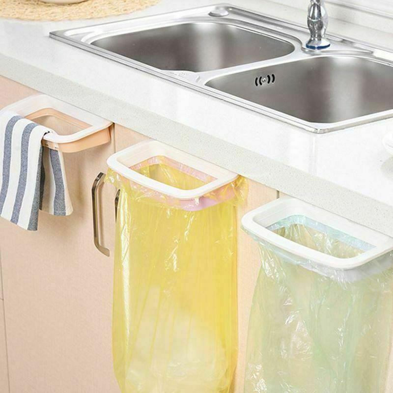 Portable Plastic Door Garbage Trash Bag Box Can Rack Hang Holder Kitchen Tool
