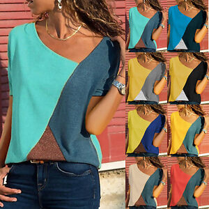 Plus-Size-Women-Ladies-V-Neck-Summer-Top-Short-Sleeve-Blouse-Casual-Tops-T-Shirt