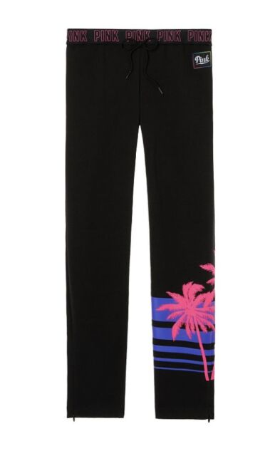 NWT VICTORIAS SECRET PINK BLACK NEON PALM TREE TROPICAL STRAIGHT LEG SWEATPANTS