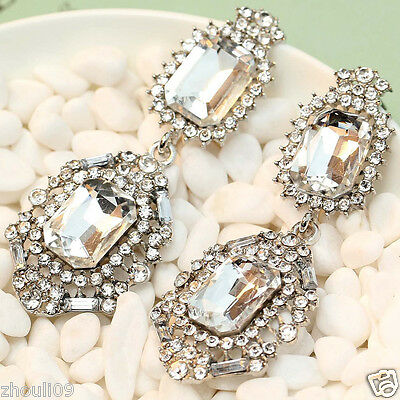 "gorgeous Lady Statement clear crystal long Ear Studs earrings hot 2 3/8"" e315"