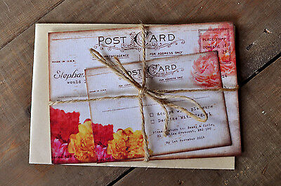 Shabby Chic Postcard Wedding Invitation - Day Evening RSVP Save the Date Vintage