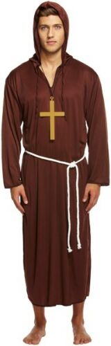 Men/'s Fancy Dress Monk Costume Friar Tuck Robe Robin Hood Stag Do Night 2 Sizes