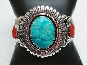 Sterling Silver Jessie Claw Navajo cuff bracelet Turquoise and coral Cuff