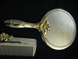 Ornate Vintage Vanity Set Silver W Gold Design Mirror