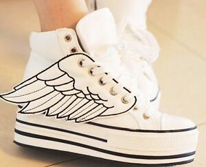 Women-039-s-Chunky-Angel-Wings-Lace-Up-High-Platform-High-Top-Flats-Sneaker-Shoes