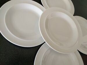 5-RARE-WHITE-BY-DENBY-LUNCH-PLATES-LUNCHEON-PLATE