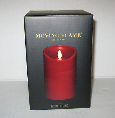 "Liown Flameless Vanilla Scented Moving Flame Oblique Pillar Candle 3.5/"" x 9/"""