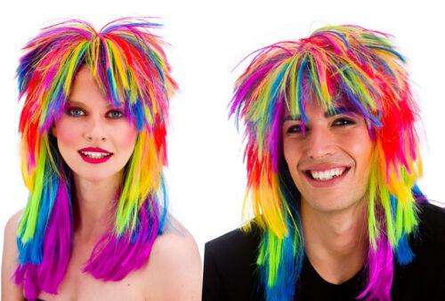1980/'s Rainbow Rocker Mardi Gras Unisex Gay Pride Multi Colour Fancy Dress Wig