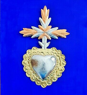 """BIG Beautiful Mexican tin sacred heart with wings  wall ornament hanging 36/"""""""