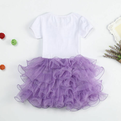 Childrens Girls Frozen Princess Elsa Tutu Dress Pageant Party Dresses 1-7T k65