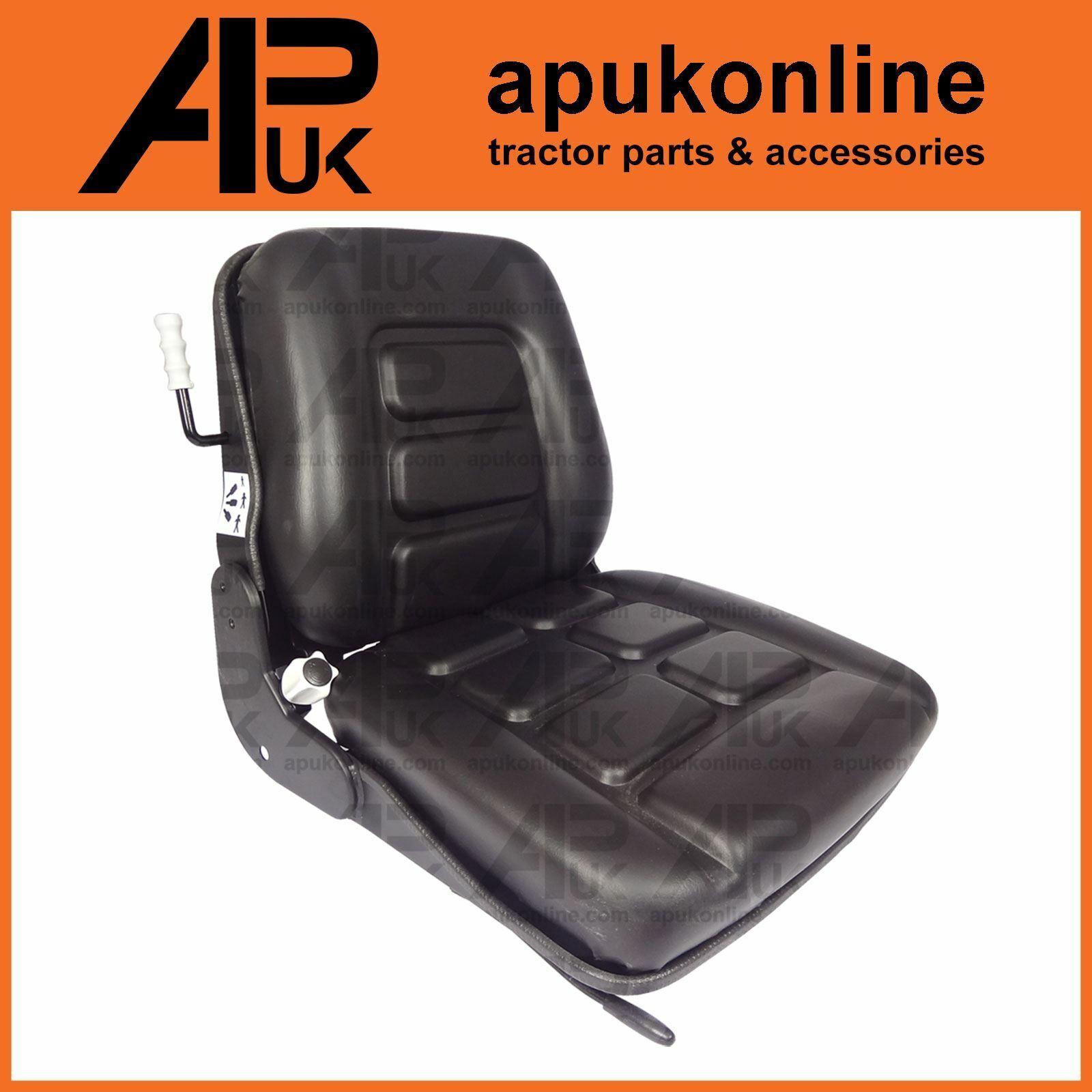 Black PVC Forklift Truck Seat + Slide Rails for CAT Hyster Jungheinrich Manitou