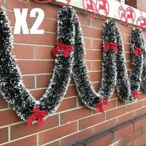2x-200cm-Natale-Decorazioni-Ghirlanda-Luscious-NATALE-NEVE-suggerimenti-Holly-verde-scuro-e-bianco