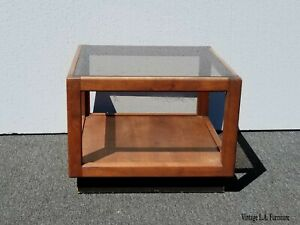 Vintage-Mid-Century-Danish-Modern-End-Table-w-Smokey-Glass