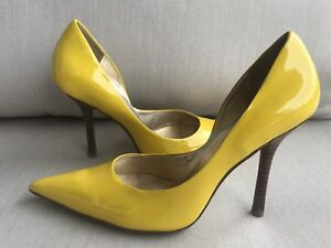 f15975ab5c0 Details about *PaTeNT yeLLoW EUC Sz 7 LEATHER Pointy Toe Stilettos Heels  PUMPS CARRIE GuESS