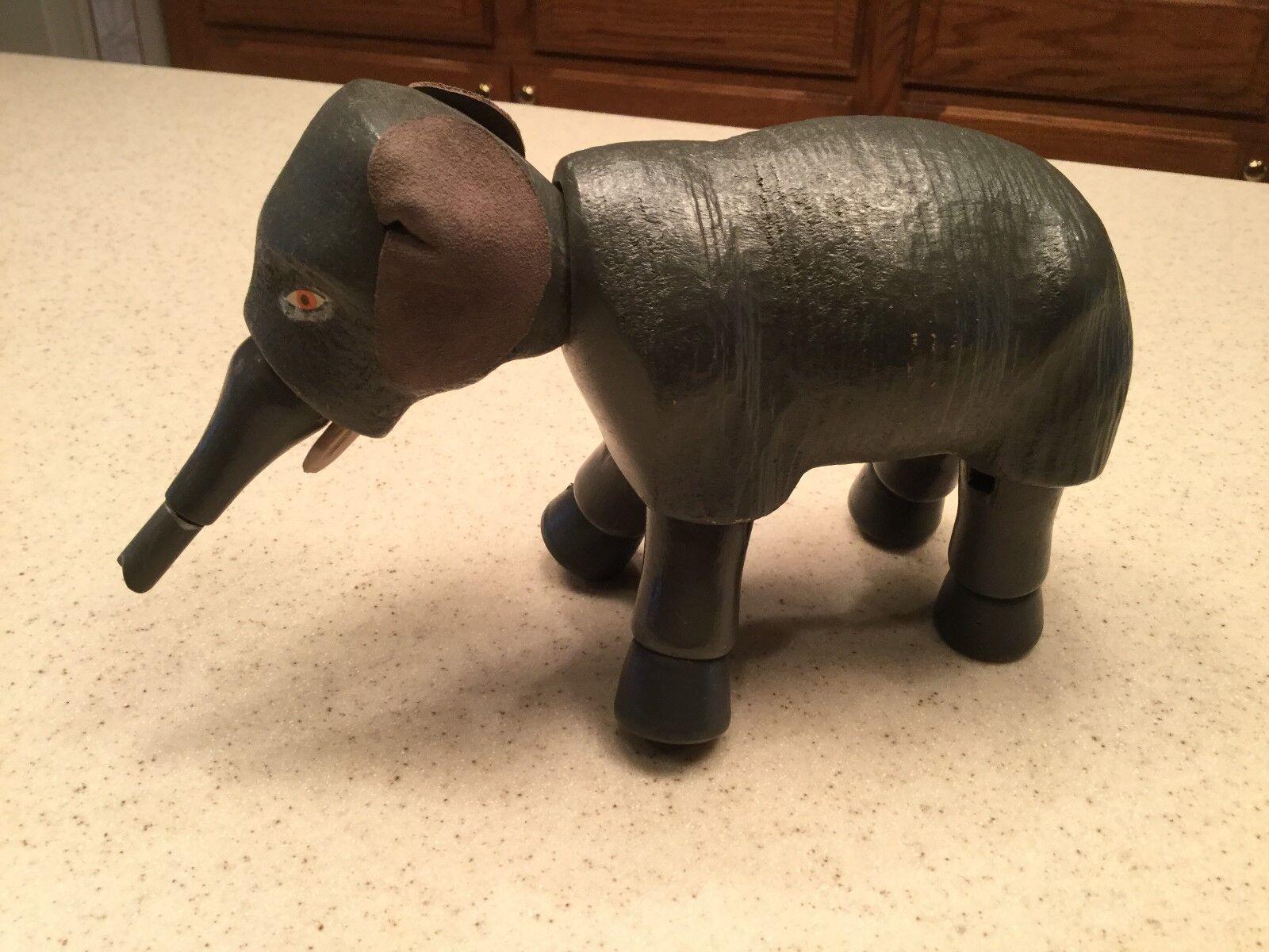 Schoenhut Circo Elefante Antiguo 5  de alto Orejas De Cuero ojos pintados