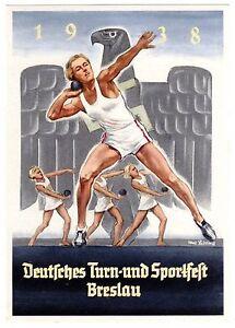 POSTCARD-GERMAN-1938-BRESLAU-SPORTS-FESTIVAL-SHOT-PUT-SIGNED-HANS-LISKA