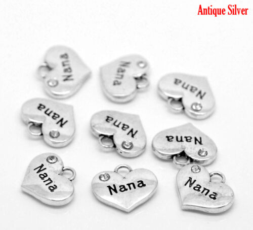 11 5 ANTIQUE SILVER NANA RHINESTONE HEART CHARM//PENDANT~Wedding~Birthday~Cards