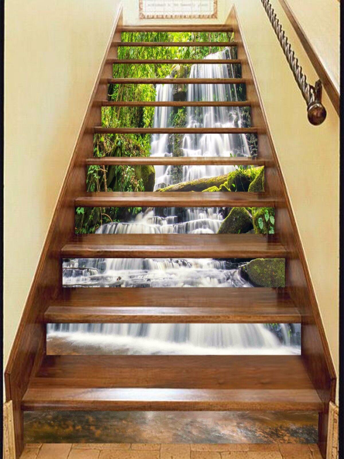 3D Green cascade Stair Risers Decoration Photo Mural Vinyl Decal Wallpaper AU