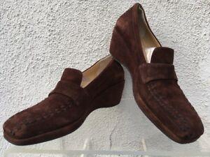 1e49051ed53 Stephane Kelian Women s Shoes Brown Suede Slip On Loafer Heels Size ...