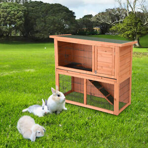 "44"" Wooden Rabbit Hutch Pet Cage with Run Asphalt Roof Bunny Small Animal House"