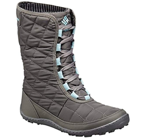 Columbia Womens Crystal Mid Lace Thermal Coil Boots City Grey/Aqua Winter Snow