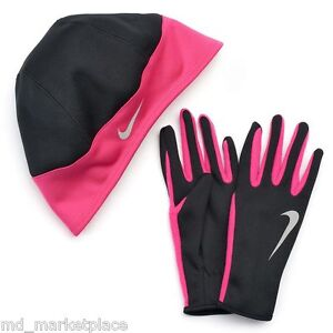 5a674b4e8 Details about NEW Nike Womens Running Dri-fit Thermal Beanie Hat Gloves Set  Black Hot Pink XS
