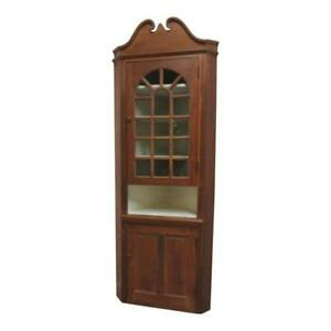 Image Is Loading Antique Primitive Early American Corner  Cupboard China Hutch