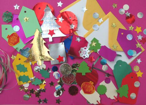 cards//envelopes Etiquetas decoraciones Para Niños De Navidad Artesanales Pack Brillo! Xmas árboles