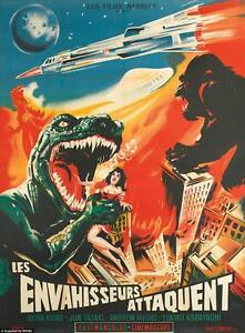 King Kong Godzilla VINTAGE HORROR MOVIE POSTER-QUALITY CANVAS PRINT 24x16""