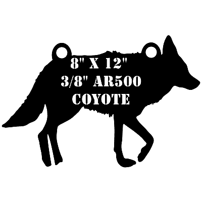 """One AR500 Coyote Target 8/"""" x 12/"""" x 3//8/"""" Shooting Practice Painted Wolf Dog Hound"""