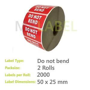 Pack of 2 Do Not Bend Parcel Labels - Small - 50 x 25mm - 2000 Labels per Roll
