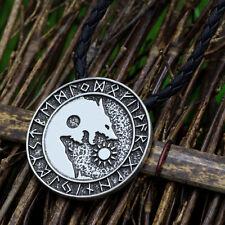 Pagan Nordic Amulet Men Norse Vikings Runes Amulet Wolf Pendant Necklace