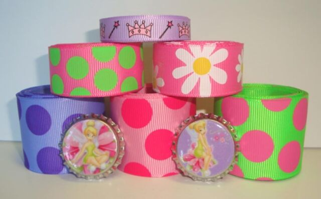 12Y CAPS TINKERBELL FAIRY PRINCESS GROSGRAIN RIBBON MIX