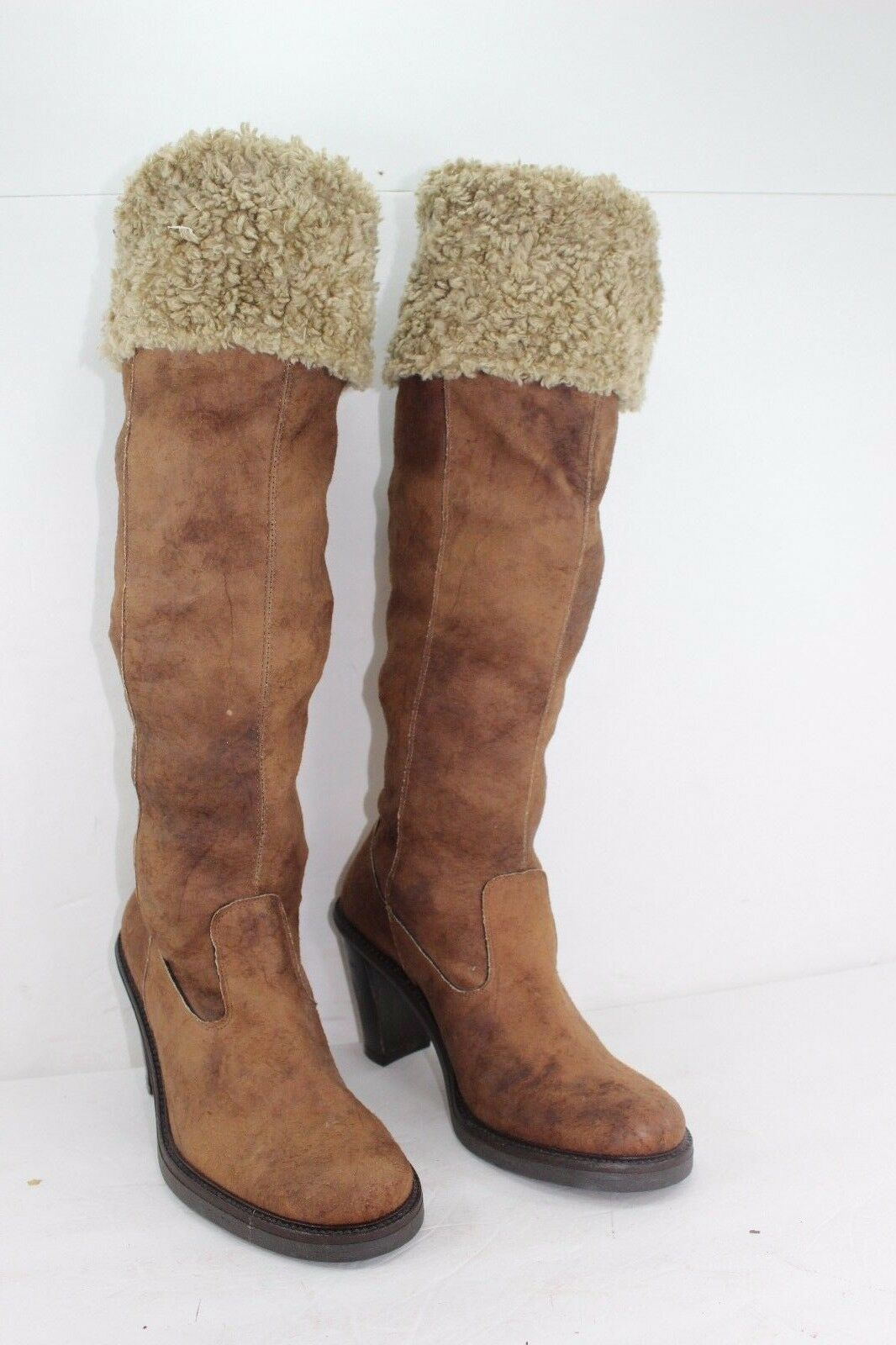 X-IT MADE IN ITALY BOOTS SIZE 39 US 9 BROWNS FUR IN GREAT CONDITION