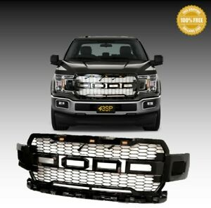 For-2018-2019-Ford-F150-ABS-Gloss-Black-Front-Hood-Grill-Grille-Raptor-Style